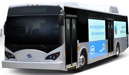 BYD's 12-meter bus (pictured) has logged approximately 14 million emissions-free miles around the world. The company recently unveiled an 18-meter, articulated version of the bus.