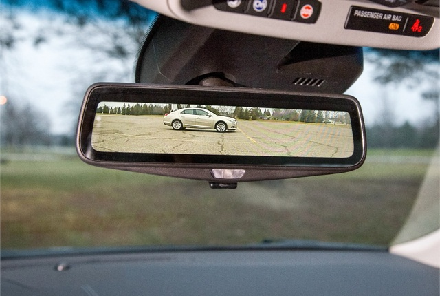 Cadillac's prototype rearview mirror can live-stream an image from a camera mounted on the rear of the vehicle. Photo by Rob Widdis for General Motors.