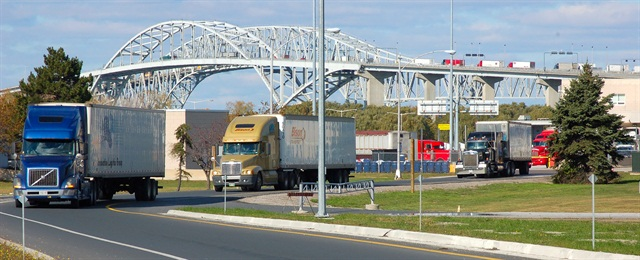 Truck crossings from Canada totaled 5.6 million in 2012. Photo by Jim Park