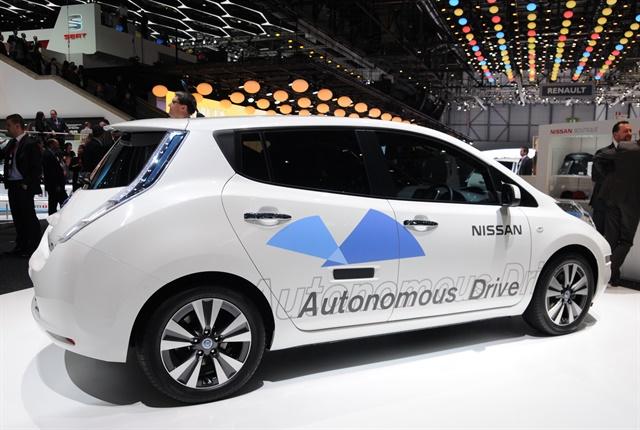 Photo of autonomous LEAF at the 2014 Geneva auto show courtesy of Nissan.