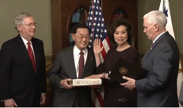 Elaine Chao being sworn in as secretary of transportation by Vice President Mike Pence. (Photo: U.S. DOT)