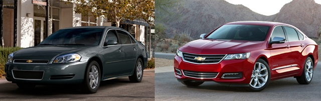 The 2013 incarnation of the Impala (left) will live on as a fleet-only 2014-MY vehicle called the Impala Limited. The all-new 2014 Impala (right), on the other hand, will be offered to both retail and fleet customers.