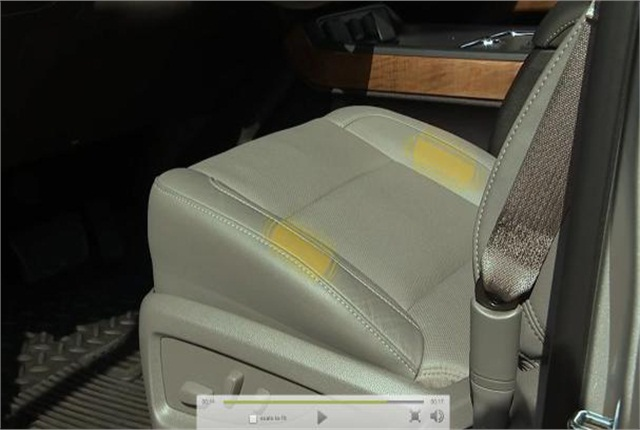 "Chevrolet's Safety Alert Seat uses haptics, a tactile feedback technology that re-creates the sense of touch by using left and/or right ""tapping"" vibration pulses to direct the driver to the location of a crash threat. Photo courtesy of General Motors."
