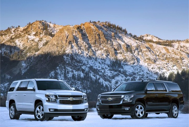 Photo of 2015 Chevrolet Tahoe (left) and Suburban courtesy of GM.