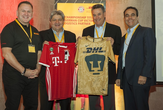 Charles Brewer (far left), global CEO, DHL eCommerce; Hugo Donoso (second from left), country manager for DHL ecommerce Chile; Lee Spratt (second from right), CEO for DHL eCommerce Americas; and Paul Tessy (far right), CEO for DHL eCommerce Latin America and Canada, at the launch of DHL ecommerce operations in Santiago de Chile. Photo courtesy of Business Wire.