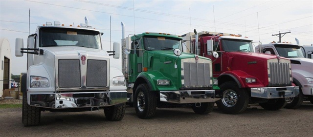 Vocational truck customers are converting to the more modern T880 (far left), though T800 (center and right) still has its followers. Photo: Tom Berg