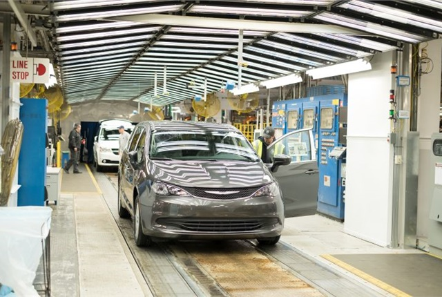 Photo of 2017 Chrysler Pacifica assembly line courtesy of FCA.