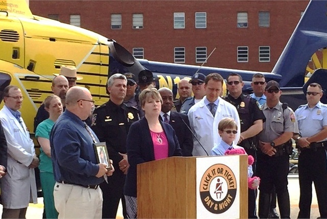 "During the ""Click It or Ticket"" news conference, the Johnson family from Loveland, Colo., share the tragic story of losing their teenage daughter. Photo courtesy of NHTSA."
