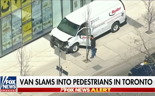 So far, nine people have died after a man reportedly driving a Ryder van rental allegedly drove onto a sidewalk and struck pedestrians. Screenshot via Fox News/Youtube.
