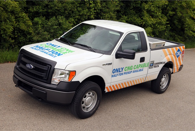 2014 F-150's 3.7-liter V-6 ordered with a gaseous preparation package can burn compressed natural gas or propane after upfitting by a Ford-approved modifier.