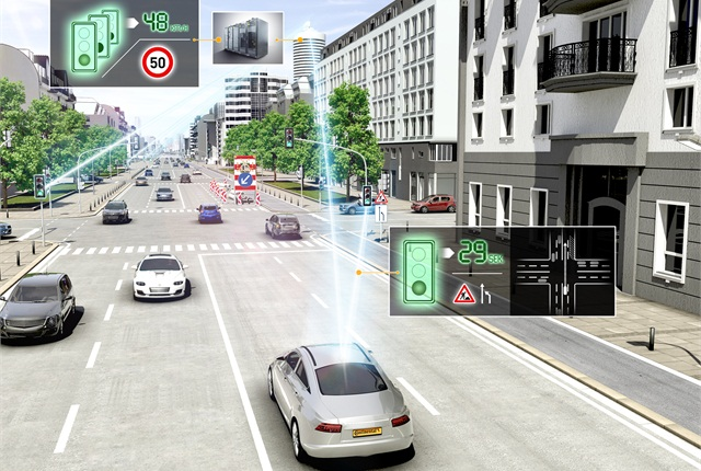 This image, courtesy of Continental, illustrates how vehicle-to-X communications can help make urban driving safer and more efficient.
