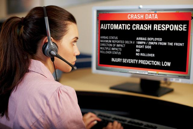 """OnStar's """"injury severity prediction"""" (ISP) service analyzes crash data, such as force of impact, to determine the probability of severe injury to the vehicle occupants. OnStar advisors then relay the ISP rating to 9-1-1 centers. Photo courtesy of GM."""