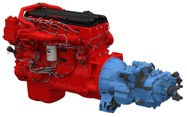 "SmarTorque2 ISX15 mates with Fuller Advantage 10-speed automated mechanical transmission via special programming to ""downspeed"" cruising RPMs and yield high efficiency, the companies say."