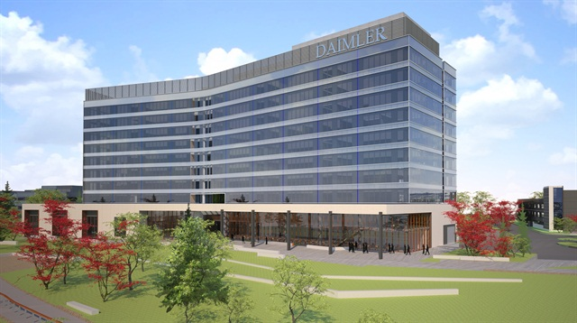 Rendering of Daimler Trucks North America's new headquarters scheduled to be completed in early 2016.