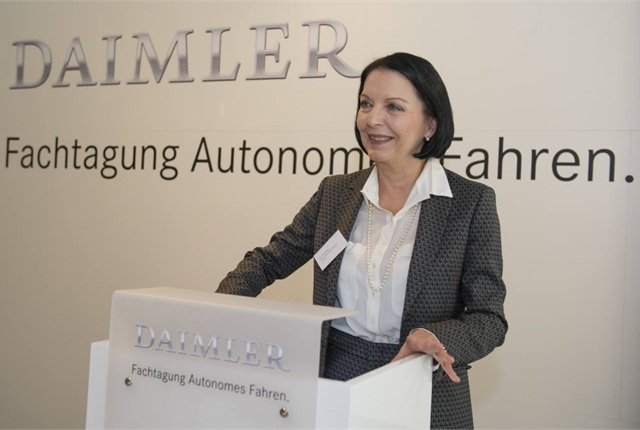 Dr. Christine Hohmann-Dennhardt spoke at Daimler's autonomous driving symposium on Sept. 23. Photo courtesy of Daimler.