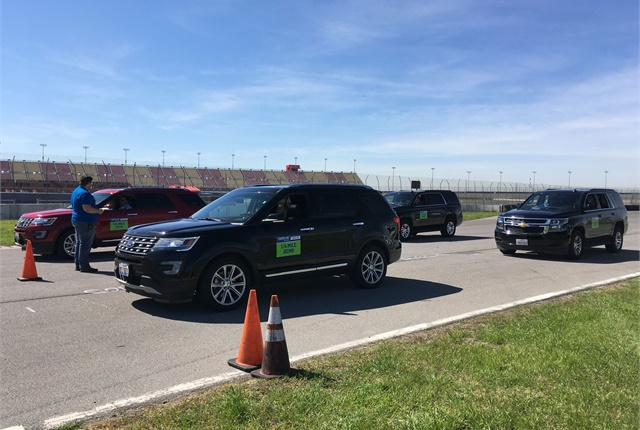 Vehicles are lined up for the acceleration test, pitting calibrated vehicles with uncalibrated ones. Photo by Andy Lundin
