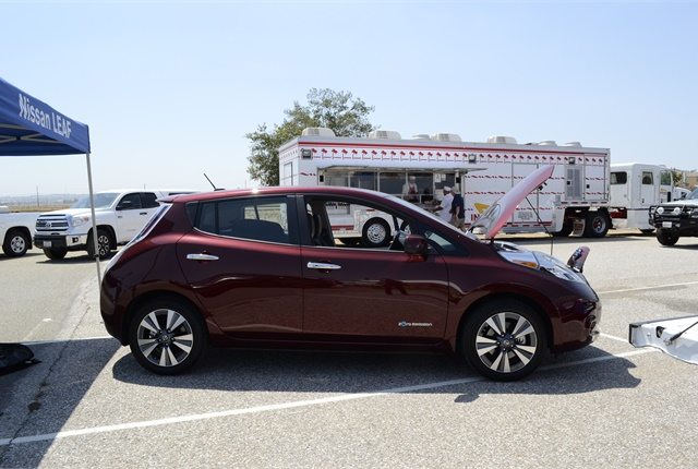 <p>Among the vehicles at the show was a Nissan Leaf.</p>