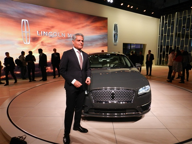 Kumar Galhotra, president of Lincoln, debuts the new Lincoln MKZ. Photo: Chris Wolski