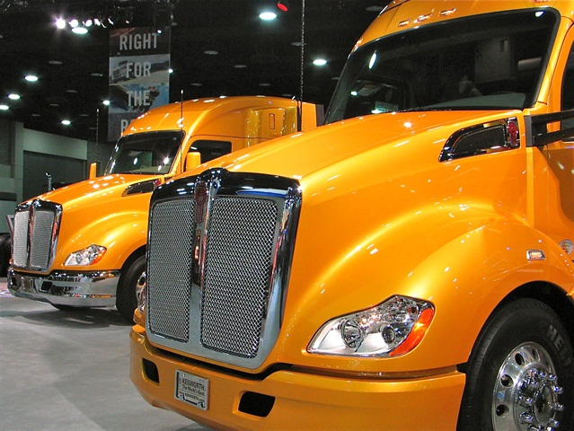 Kenworth trucks on display during this year's Mid-America Trucking Show. Photo: Evan Lockridge