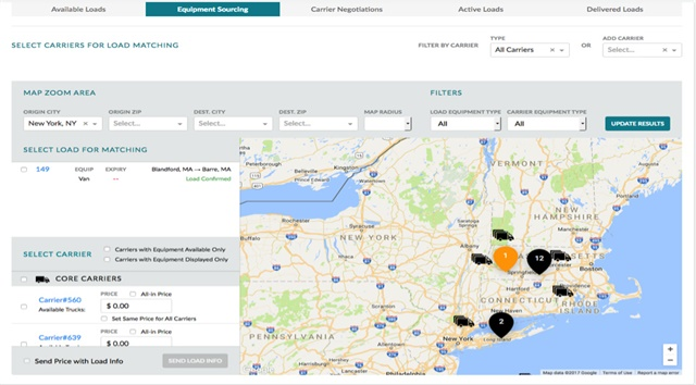 <p><strong>This carrier sourcing screen is one example of how the EKA Omni-TMS cloud platform offers intuitive, graphic-based tools to brokers, carriers, and shippers.</strong> <em>Screenshot courtesy EKA</em></p>