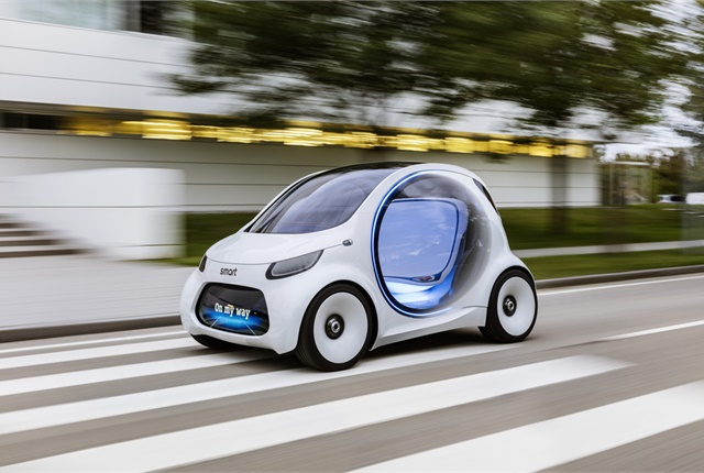 Photo of self-driving car courtesy of SmartUSA/Mercedes-Benz.