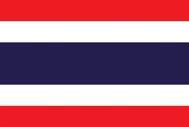 Thailand flag courtesy of Wikimedia Commons.