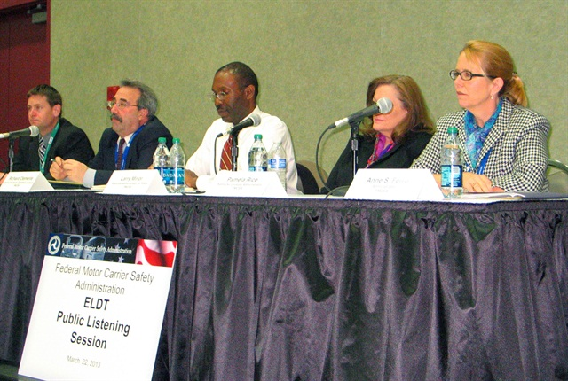 FMCSA Administrator Anne Ferro, right, and a panel of FMCSA officials listen to comments about proposed entry level driver training regulations.
