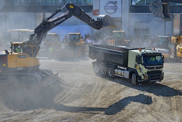 A Volvo Trucks demonstration at the huge Bauma construction show in Germany.