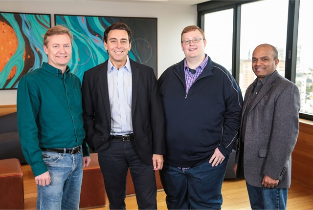 (from l. to r.) Peter Rander, Mark Fields, Bryan Salesky, and Raj Nair