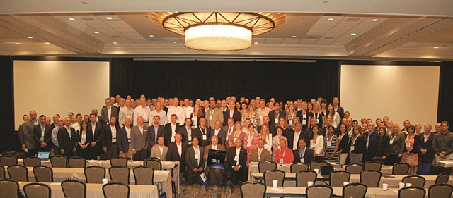 "Posing for a ""class"" photo for this year's Global Fleet Conference in Miami were 98 of the more than 200 attendees.Photo by Chris Wolski."