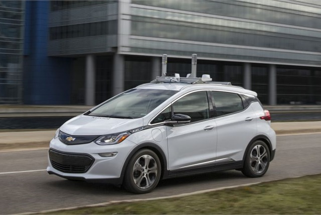 Photo of autonomous Chevrolet Bolt testing in Michigan courtesy of GM.