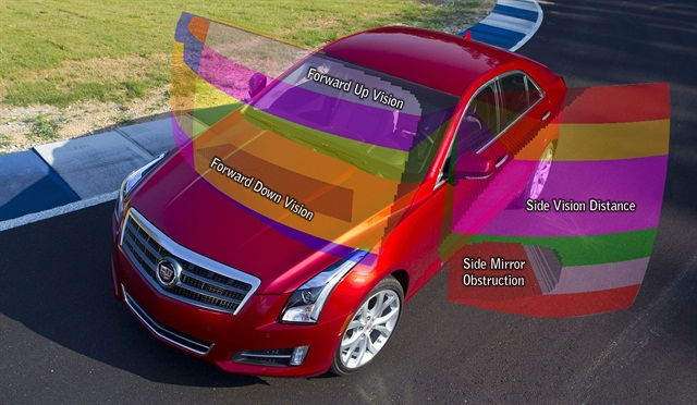GM said its engineers used advanced computer modeling to help evaluate driver visibility in the all-new Cadillac ATS. The company said this method allowed for a quick evaluation of how design changes affected the driver's field of view. Photo courtesy GM.