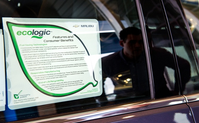 The Ecologic label lists what GM did to reduce the vehicle's environmental impact. The Malibu Ecologic label outlines responsible manufacturing, efficient technologies, and recyclability, according to the automaker. Photo courtesy Steve Fecht for GM.