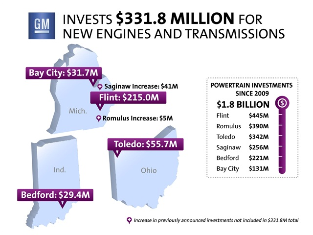 This map show's GM's investments to build new powertrains. Image courtesy GM.