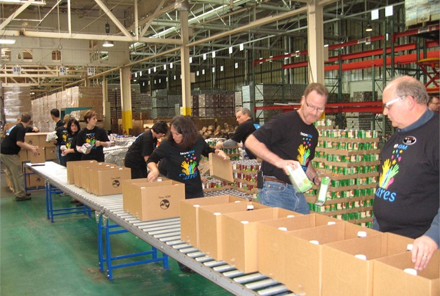 GM Fleet associates pack donations for charitable causes. Photo courtesy of GM.