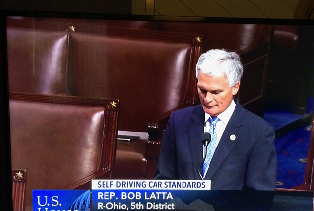 Representative Bob Latta (R-Ohio) urges passage of the Self-Drive Act before a voice vote on the floor. Photo courtesy of C-SPAN.