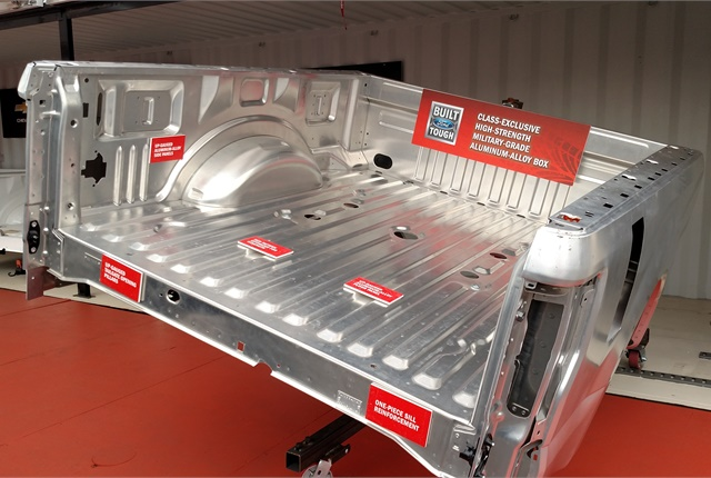 pstrongAluminum cargo bed is stronger and lighter than steel, Ford says./strong/p