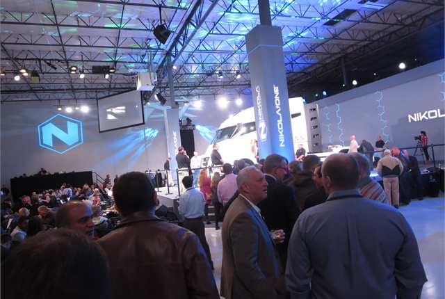 <p><strong>Following the presentation, guests stood in a long line to see the Nikola One up close and inspect its interior. <em>Photo: Tom Berg</em></strong></p>