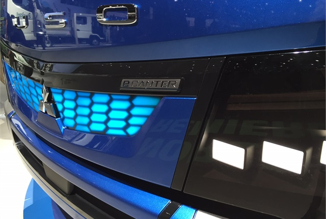 The IAA show version of the eCanter featured LED headlamps, a distinct grille and bumper. Photo: Deborah Lockridge