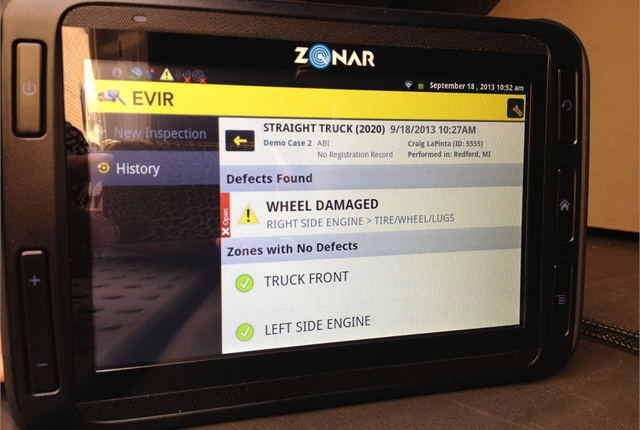 The vehicle inspection app uses Zonar's RFID-tag system. RFID tags placed around the vehicle prompt drivers through their inspection as they scan each tag with the tablet reader.