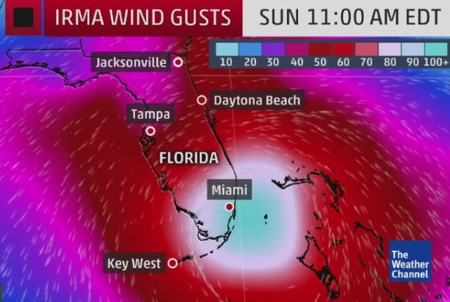 Irma forcast graphic via The Weather Channel.