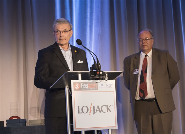 NETS Executive Director Jack Hanley (at podium) accepts his Lifetime Fleet Safety Award, while AF Editor Mike Antich looks on.Photo by Mark Campbell