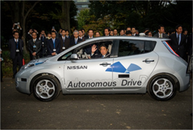 Japan's Prime Minister Shinzo Abe recently took a spin in Nissan's all-electric LEAF autonomous-drive vehicle.