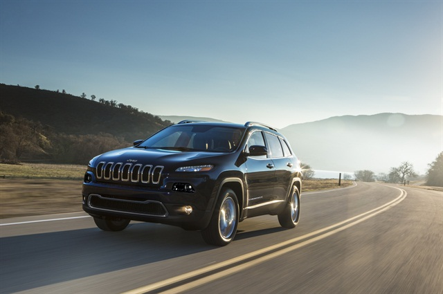 Chrysler said the all-new Jeep Cherokee offers 45% better fuel efficiency over the outgoing Liberty, new safety and 4x4 technologies, and new technology features. Photo courtesy Chrysler.