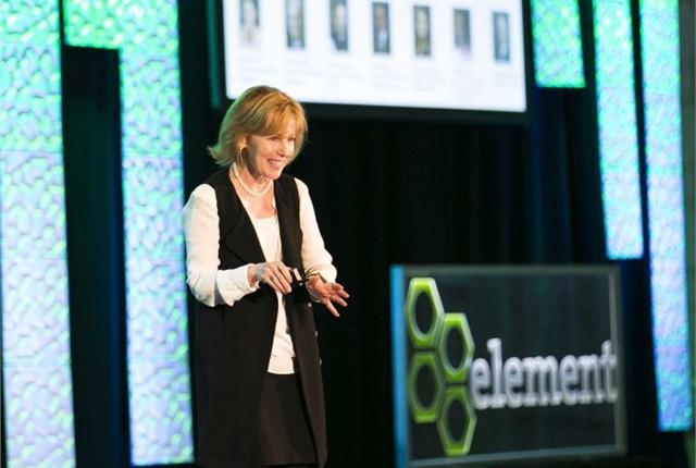 Photo of Kristi Webb speaking at the Element Fleet Roundtable courtesy of Element.