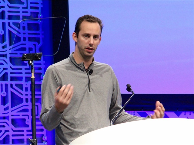 Anthony Levandowski speaking about the future of self-driving trucks at last year's ATA Managment Conference & Exhibition. Photo: Evan Lockridge