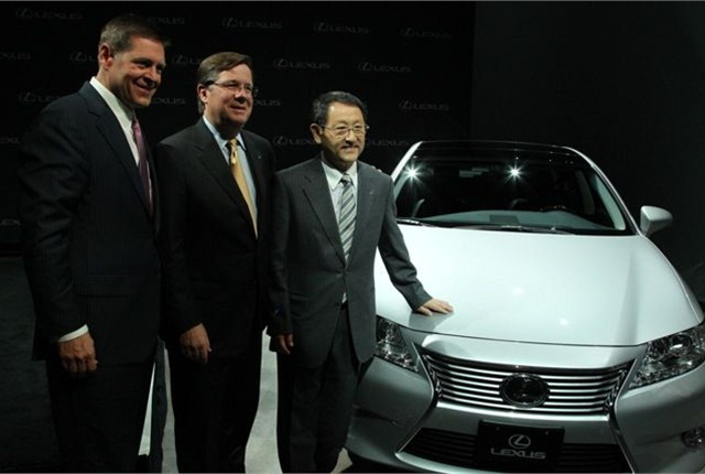 Lexus International Executive Vice President Mark Templin (left to right), Toyota North America Region CEO Jim Lentz and Toyota Motor Corporation President Akio Toyoda gather at a press event in New York where they announced that the Lexus ES 350 sedan will be produced in Georgetown, Ky. Photo courtesy Toyota.
