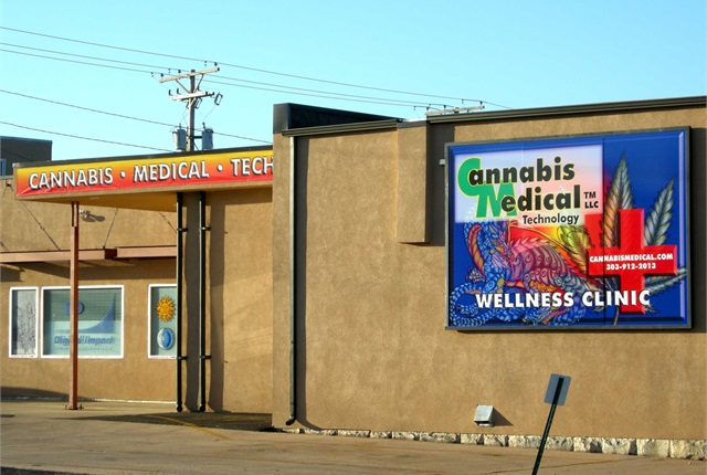 Photo of medical marijuana clinic in Denver by Plazak via Wikimedia Commons.