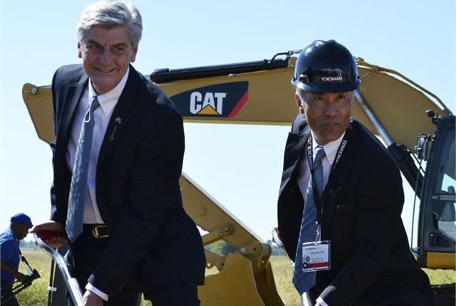 The groundbreaking for the Yokohama Tire Manufacturing Mississippi plant was attended by Mississippi Gov. Phil Bryant (left) and Hikomitsu Noji, president and representative director of Yokohama Rubber Co. Ltd.