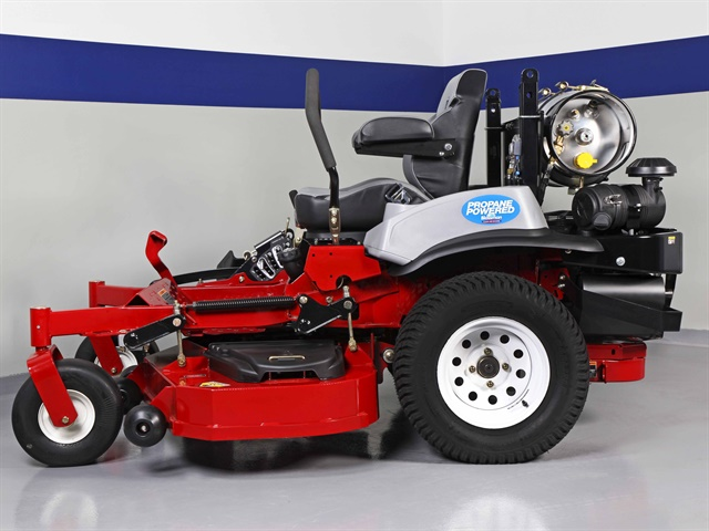 The propane mower is a 2013 Exmark Lazer Z Ultra Cut 60 powered by a 25.5 hp Kawasaki FX801 V-Twin gasoline engine, converted to propane by Alliance Small Engines. (PHOTO: Alliance AutoGas)